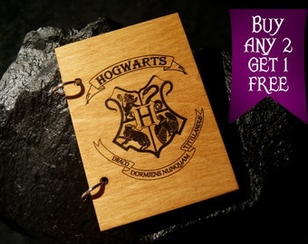 Hogwarts crest wooden notebook / Harry Potter notebook / sketchbook / diary / Harry Potter journal / travelbook / Harry Potter gift