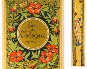 Vintage Large Eau de Cologne Label and Small Strip