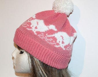 Pink Beanie with White racing Whippet or Greyhound dogs pompom Hat