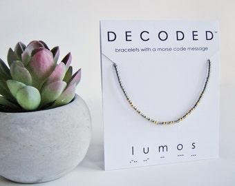 LUMOS - Harry Potter Jewelry - Morse Code Bracelets - Harry Potter Spells - Harry Potter Gifts - Morse Code Jewelry