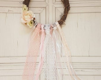Dreamcatcher, dream catcher, floral wreath, shabby chic wreath, floral wall hanging