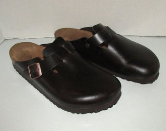vintage beautiful brown leather Birkenstock clog sandal   size 43   11us  Germany