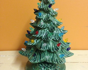 Small Lighted Ceramic Christmas Tree with Holly Base