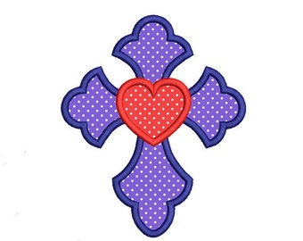 Cross Applique Embroidery Design. Cross Embroidery Design. Cross heart embroidery. Easter Cross embroidery. Cross design. Cross applique.