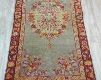 Tribal Turkish Rug, Pastel Floor Rug, Small Turkish Rug, Oushak Rug
