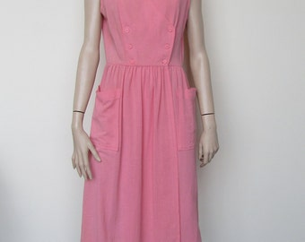 80s/ 90s pink sun dress with pockets - size 12-14 WD3