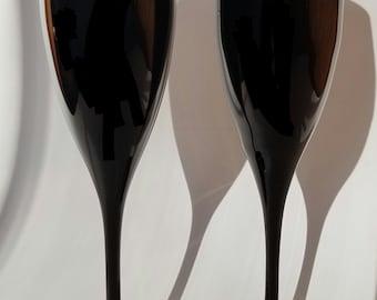 Champagne flutes hand-blown opaque black