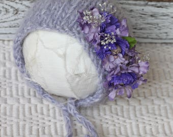 Knitted Bonnet with Flowers Accents, New Born Delicate knitted Bonnet, Purple Flower Bonnet