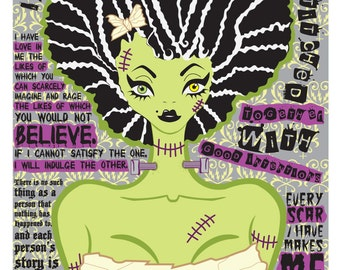 The Bride Of Frankenstein Illustration / Mary Shelley Quotes Poster