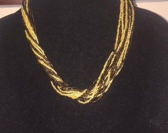 Handmade multi strand dark brown and gold seed bead necklace