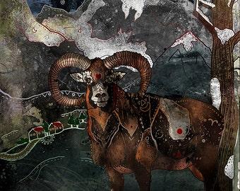 Aries the Ram - Aries Illustration, Aries Art, Aries Print, Aries Wall Decor, Ram Art, Ram Print, Whimsical, Mountains, Nature, Zodiac Sign