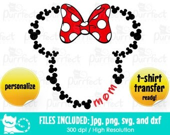 Mickey Heads Monogram Custom MOM w/ bow SVG, Mickey Monogram Text SVG, Disney Digital Cut Files in svg, dxf, png and jpg, Printable Clipart