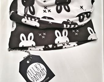 Loop turn scarf bunny print black white organic cotton