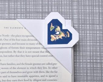 "Origami Corner Bookmark - Flat Earth Heart Bookmark - White Paper Bookmark - Conspiracy Bookmark - Conspiracy Bookmark - 10x5 cm - 4x2"""