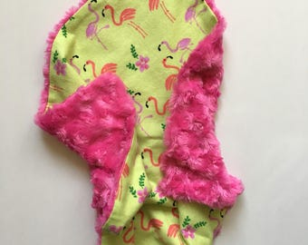 Baby Blanket, Lovey, Baby Lovie, Flamingos, Bright Pink, Baby Blankie, Lime Green, Security Blanket, Fur Blanket