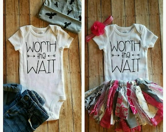 Worth the Wait!!!!!  Perfect baby shower gift for an expecting mom!!! Works for baby boy or baby girl!!