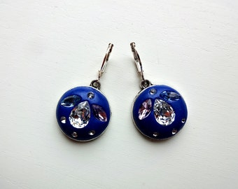 Lovely blue clay earrings with Swarovski crystals