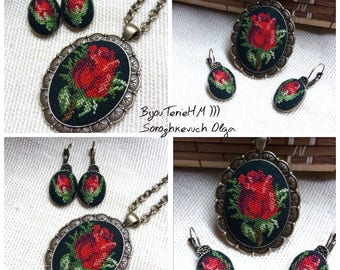 Cross stitch set.  Embroidered pendant and earrings. Embroidered roses. Gift for her. Embroidered flower jewelry.