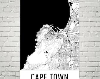 Cape Town Map, Cape Town Art, Cape Town Print, Cape Town SA Poster, Cape Town Wall Art, Cape Town Gift, Map of Cape Town, Cape Town Decor