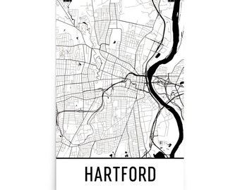 Hartford Map, Hartford Art, Hartford Print, Hartford CT Poster, Hartford Wall Art, Hartford Gift, Map of Hartford, Hartford Decor, Map Art