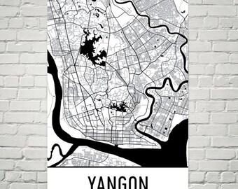 Yangon Map, Yangon Art, Yangon Print, Yangon Myanmar Poster, Yangon Wall Art, Map of Yangon, Yangon Gift, Yangon Decor, Yangon Map Art Print