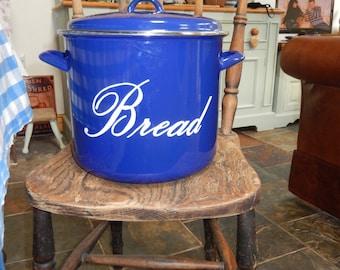 bread bin cobalt blue enamel retro bred bin vintage bread store by judge blue enamel bread
