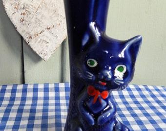 Kitsch Cat Bud Vase, 1970s Retro, Blue Cat, Ceramic Cat, Retro Blue Cat,  Kitsch Cat Ornament, Figuarine