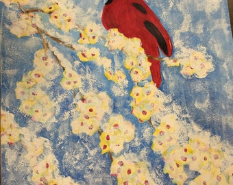 Watercolor. Wintry red bird