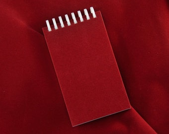Red Velvet covered refillable pocket journal/notebook; Cover has recycled content.