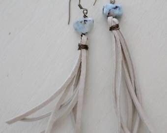 Leather Dangle earrings-blue