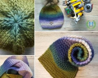 Handknitted Soft Multicolour Gradient Beanie & Infinity Scarf SET