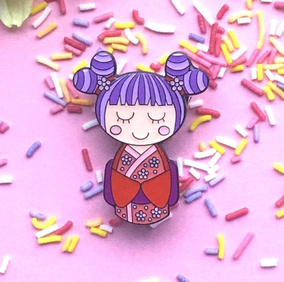 Cute Kawaii Sakura Kokeshi Doll Enamel Pin