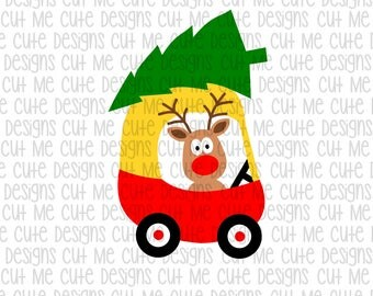SVG DXF PNG cut file cricut silhouette cameo scrap booking Christmas Reindeer Little Red Car