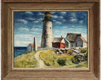 Oil Painting by Samuel Brecher Entitled 'Pemaquid Lighthouse E Boothbay, ME'