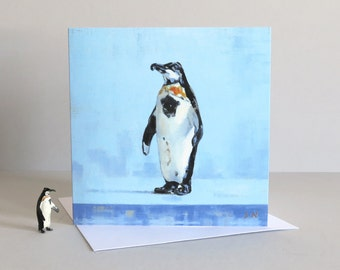 Christmas Penguin card, Penguin card, Christmas birds, Diecast Penguin, Toy Penguin, Vintage toy, Christmas card, Greetings card, Art card
