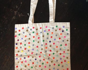 Handmade Button Reusable Cotton Canvas Tote Bag 40cm x 36cm