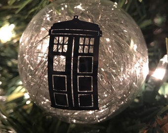 Doctor Who Tardis Inspired Glass Ornament