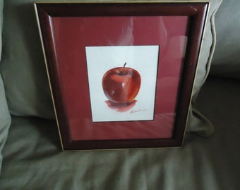 Lovely Indiana Framed Watercolor Painting ~Apple
