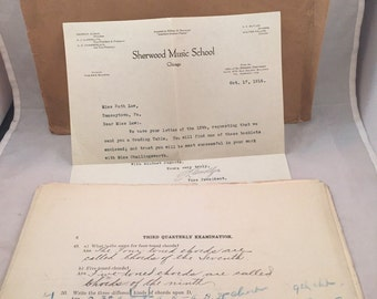 Sherwood Music School Chicago Vintage 1916 Letter & Exam Papers w/ Grades