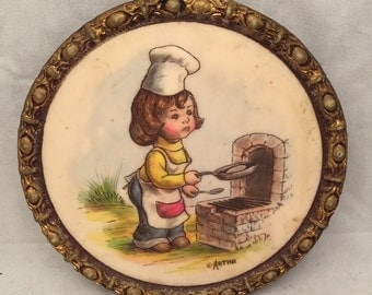 """Vintage Artini Arts, Inc. Sculptured Engraving Four Dimensional Wall Hanging - Kid Cook - 6"""""""