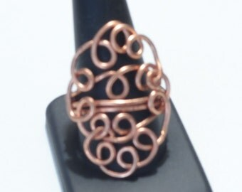 Copper Filigree and Woven Ring
