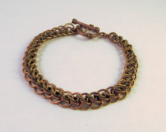 Antique Copper and Brass Chain Mail Bracelet