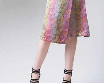 Women's skirt, floral skirt, asymmetrical skirt, wrap skirt,  A-line skirt, floral print skirt, women's fashion, Chinese silk, skirt