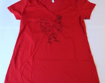 Geometric Rooster Shirt - womens/poultry/chicken shirt/red