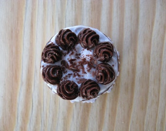 Handmade Miniature Polymer Chocolate with White Frosting  Cake