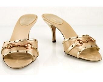Gucci bronze golden leather & satin slides mules sandals sz 36 shoes