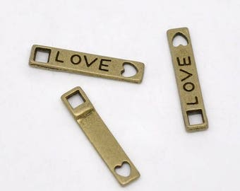 10 pc Antique Bronze Heart Love Tag Connector/Charm 21x4mm