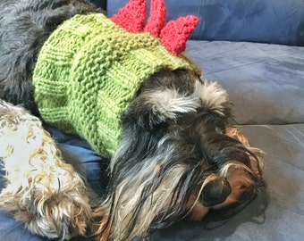 Knitted dog beanie | dinosaur dog hat | knitted dog snood | knitted pet ear warmer | dog costume