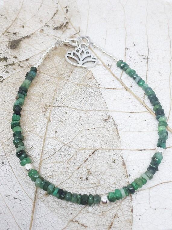 Emerald Goddess Bracelet, Gemstone Bracelet, Meditation Bracelet, Charm Bracelet, Yoga Bracelet, Lotus Bracelet, Gift For Her