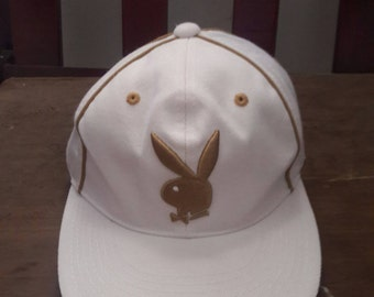 CHRISTMAS SALE 20% Vintage Playboy white hat cap big pony